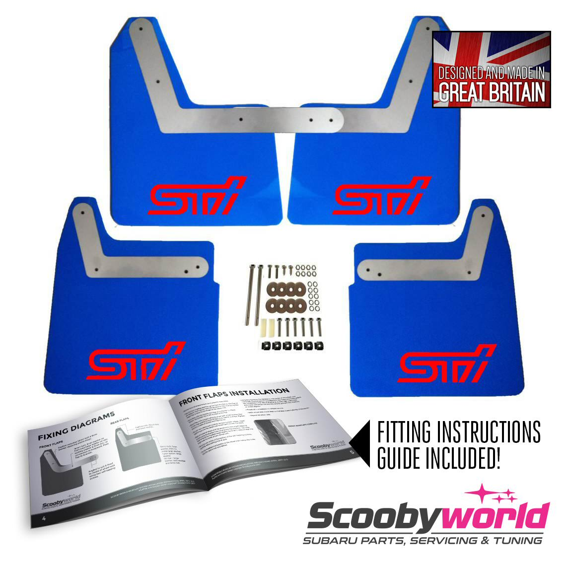 Subaru Wrx Sti Performance Parts Scoobyworld 2001 Engine Diagram Blue Mudflaps With Red Decals Impreza New Age 01 07
